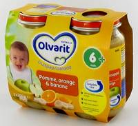 OLVARIT FRUIT POMME-ORANGE-BANANE        6M 2X200G