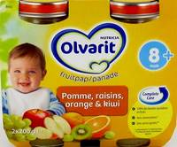 OLVARIT FRUIT POMME-RAISIN-ORANGE-KIWI   8M 2X200G